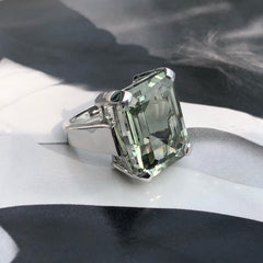 Green Amethyst Art Deco Ring