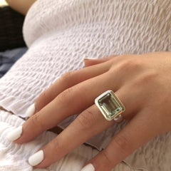 Santorini Ring Green Amethyst