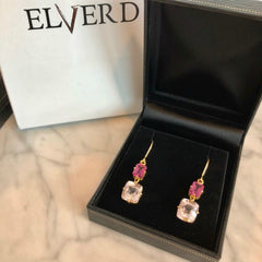 Limited Edition Pink Topaz & Champagne Pink Quartz drop earrings