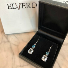 Limited Edition London Blue Topaz & White Quartz drop earrings