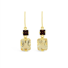 Limited Edition Red Garnet & Champagne Quartz drop earrings