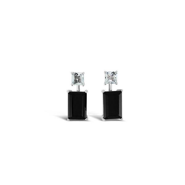 Joy Earrings Black Onyx & White Quartz
