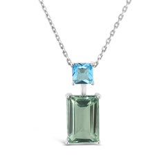Joy Pendant Green Amethyst & Blue Topaz