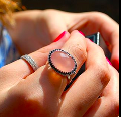 Pink Chalcedony and Black Spinel Niamh Vintage Ring