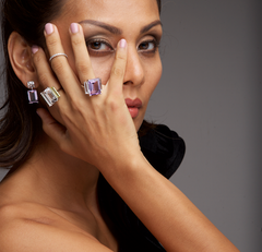 Modern Muse - Melissa Purple Amethyst & White Quartz Ring