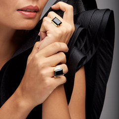 Modern Muse Ring Black Onyx & White Quartz