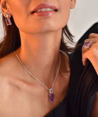 Modern Muse Pendant Purple Amethyst & White Quartz