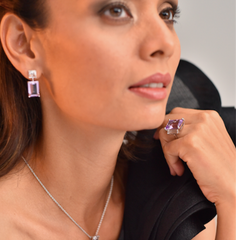 Modern Muse Earrings Purple Amethyst & White Quartz