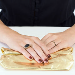 Niamh Vintage Ring Black Onyx & Black Spinel. Solid Yellow Gold 14k