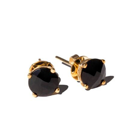 Renee Earrings Black Onyx. Solid yellow gold