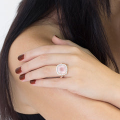 Celebrations Ring Rose Quartz Solid Rose Gold 14k & Diamonds