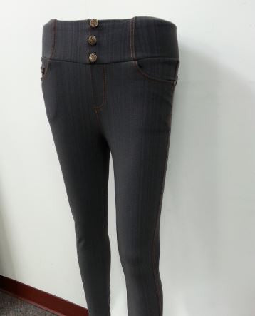 Buttoned Denim Leggings