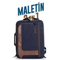 BACKPACK / MALETIN 2 EN 1 GHIA 15.6 AZUL/CAFE