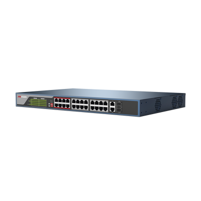 Switch No Administrable 24 Puertos PoE+ 100 Mbps / Switch PoE 250 mts LARGA DISTANCIA / 2 Puertos SFP / 2 Puertos Gigabit / 370 Watts Total - ABD Systems