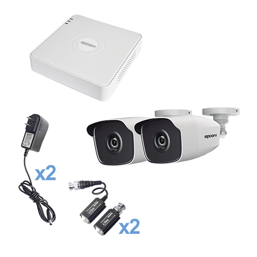 KIT TurboHD 720p, DVR 4 Canales, 2 Cámaras Bala (interior - exterior 2.8 mm), Hik-Connect