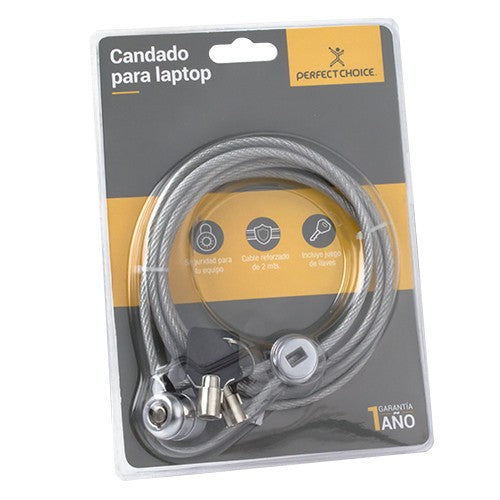 CANDADO UNIVERSAL CON LLAVE PARA LAPTOP PERFECT CHOICE GRIS