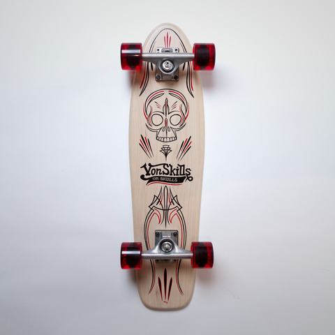 Cruiser Medium - White (Maple) - Von Skulls Pinstriped
