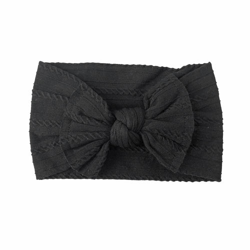 Cable Knit Bow Headband | Black