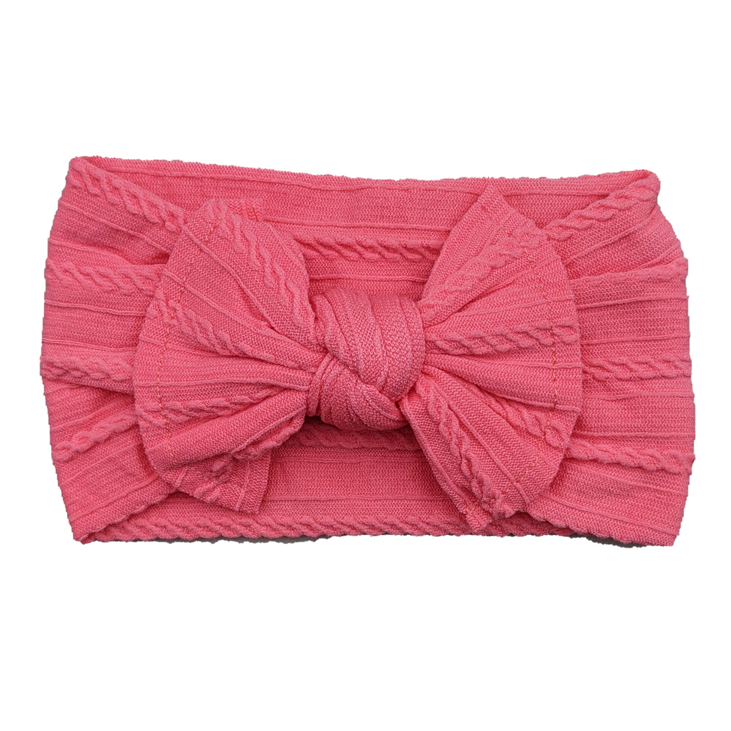 Cable Knit Bow Headband | Bright Coral