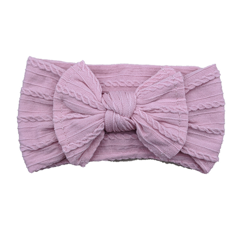 Cable Knit Bow Headband | Dusty Pink