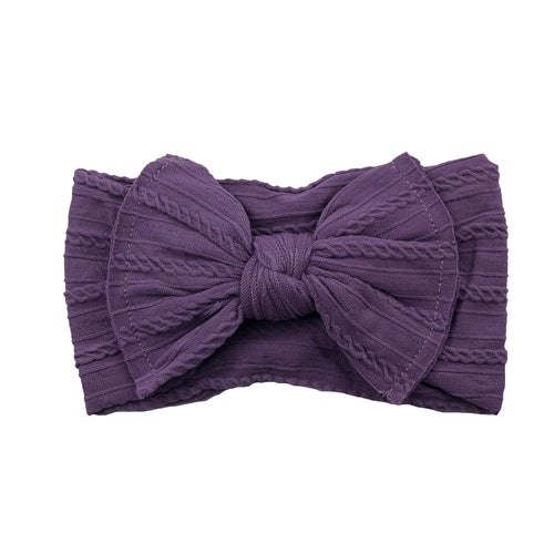 Cable Knit Bow Headband | Dark Orchid