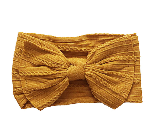 Cable Knit Bow Headband | Harvest Sun