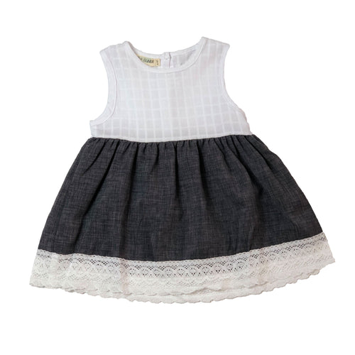 *4T ONLY LEFT* Madeline | Dress | Gray/White
