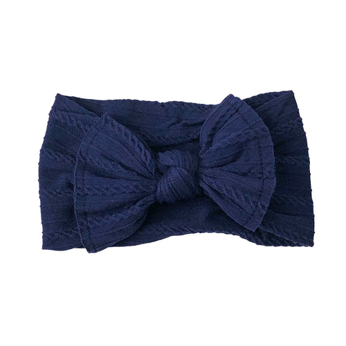 Cable Knit Bow Headband | Midnight Blue
