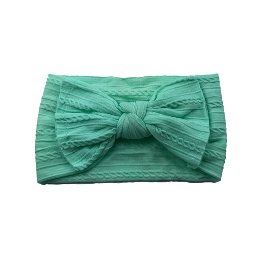Cable Knit Bow Headband | Mint