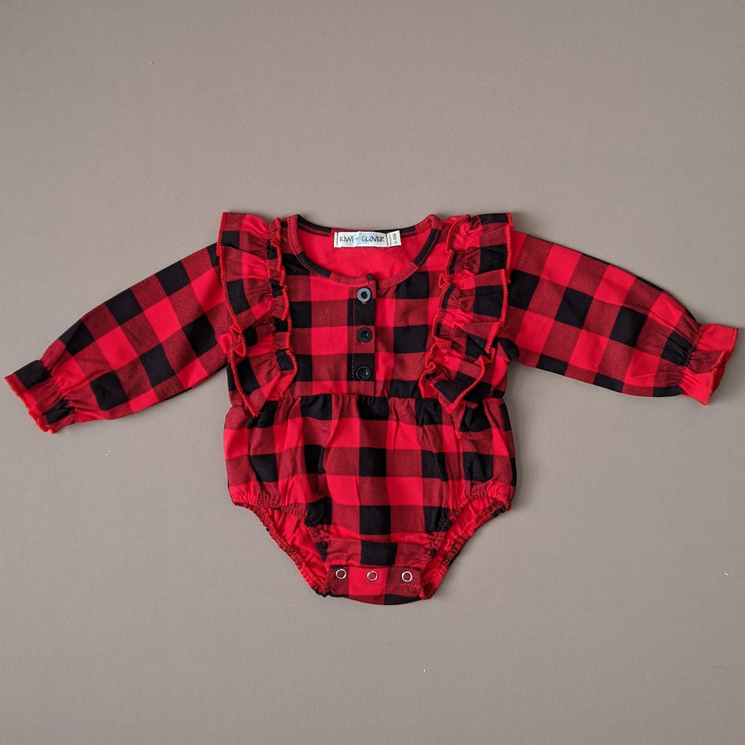 Noel | Long Sleeve Romper + Headband | Buffalo Plaid