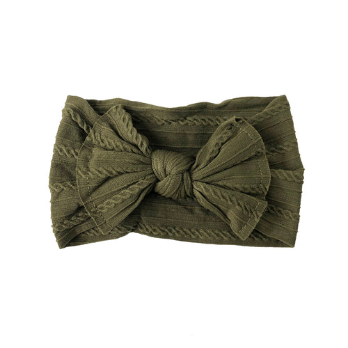 Cable Knit Bow Headband | Olive