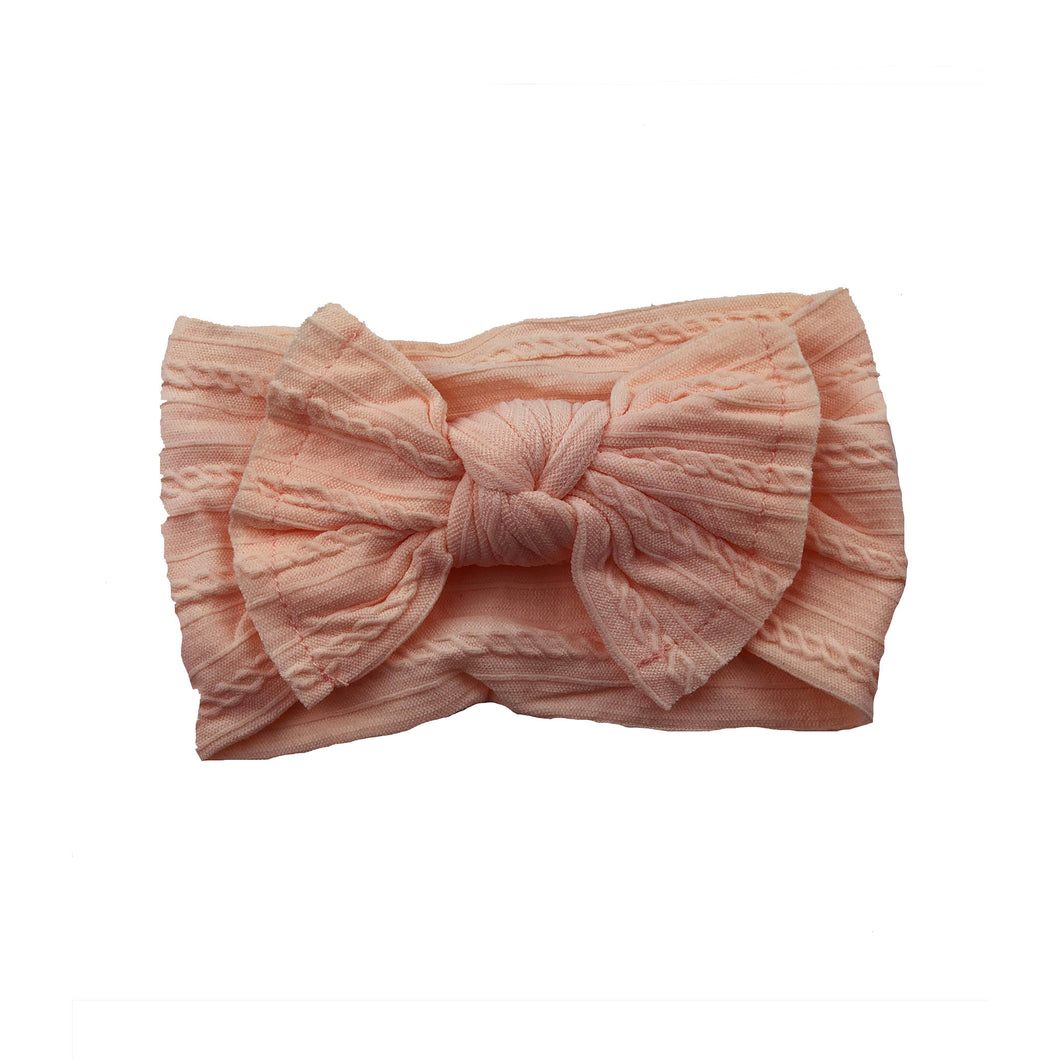 Cable Knit Bow Headband | Peach Pink