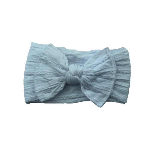 Cable Knit Bow Headband | White