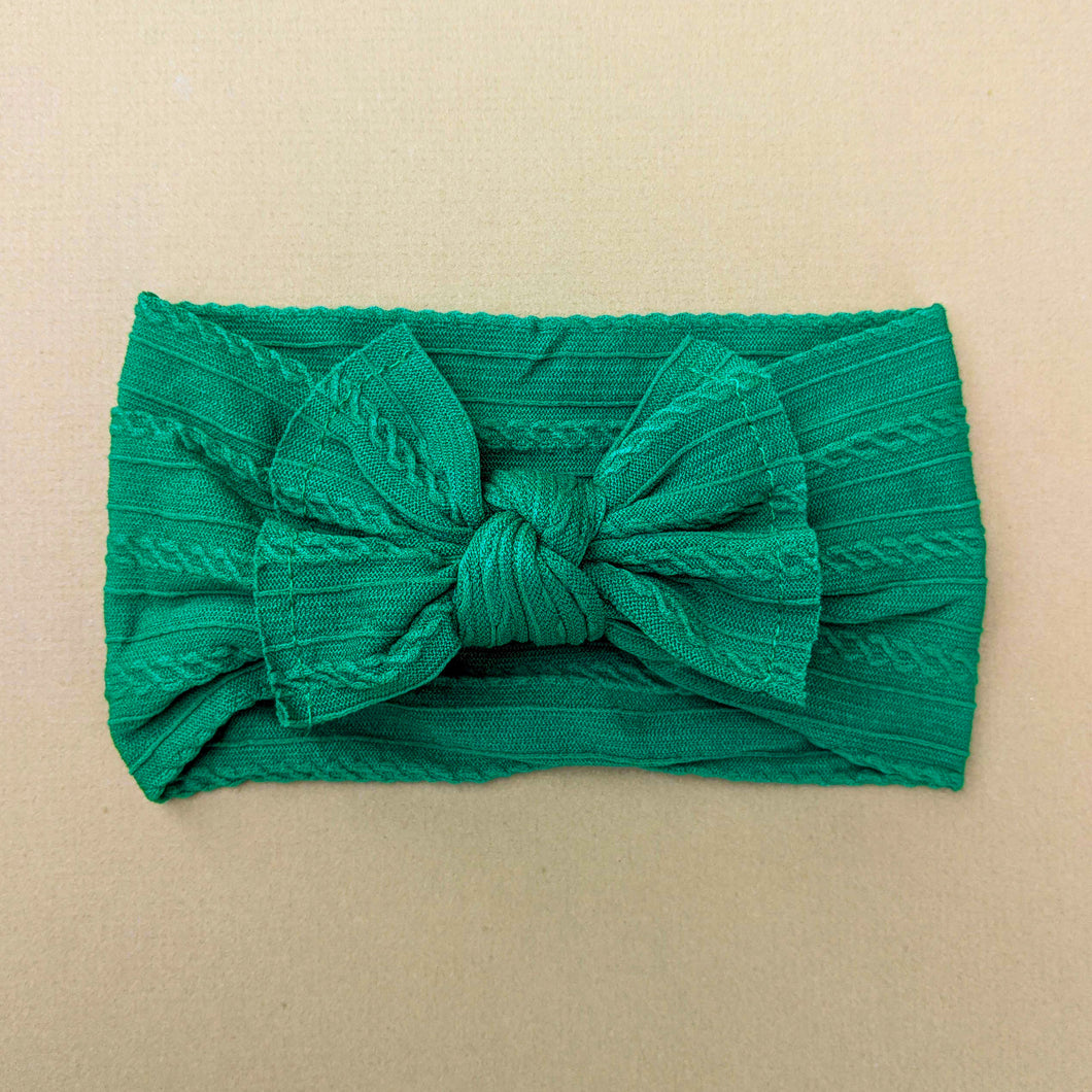 Cable Knit Bow Headband | Evergreen