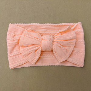 Cable Knit Bow Headband | Peach