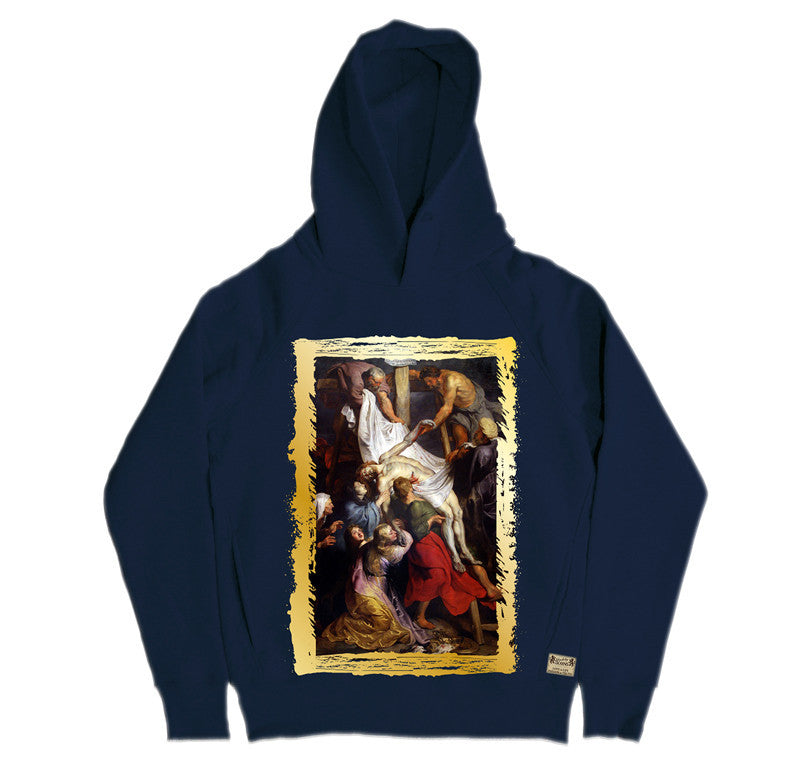 Ikons 'La Descente de Croix' Navy Hooded Sweatshirt from our Ikons range of restored old masters as worn by Ian Brown of the Stone Roses