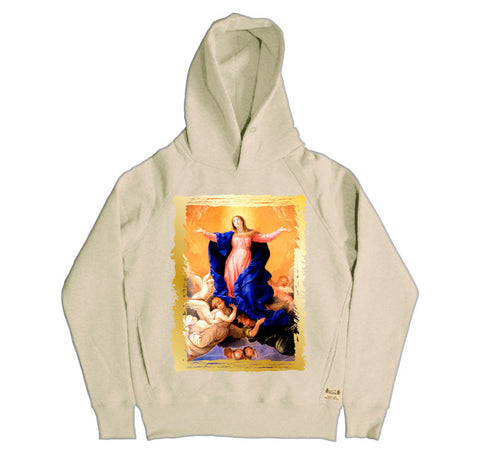 Ikons 'The Assumption of the Virgin' Vintage White Hooded Sweatshirt from our Ikons range of restored old masters as worn by Ian Brown of the Stone Roses