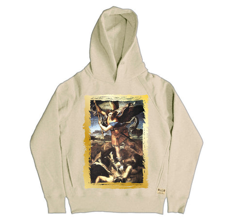 Ikons 'St. Michael Trampling The Dragon' Vintage White Hooded Sweatshirt