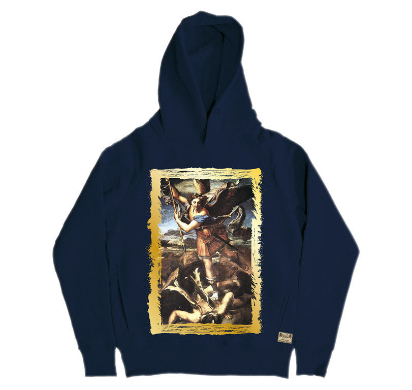 Ikons 'St. Michael Trampling The Dragon' Navy Hooded Sweatshirt from our Ikons range of restored old masters as worn by Ian Brown of the Stone Roses