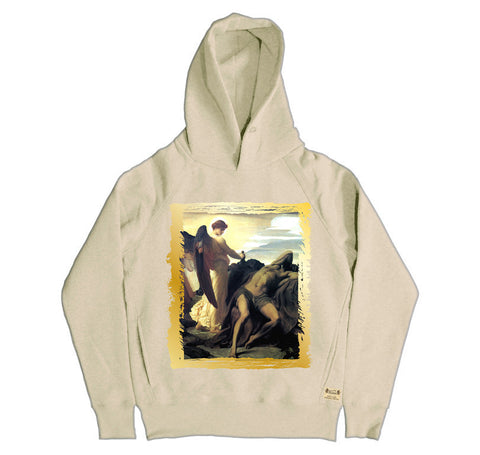 Ikons 'Elijah in Wilderness' Vintage White Hooded Sweatshirt from our Ikons range of restored old masters as worn by Ian Brown of the Stone Roses