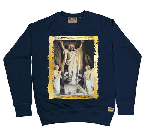 Ikons 'Resurrection' Navy Sweatshirt from our Ikons range of restored old masters as worn by Ian Brown of the Stone Roses
