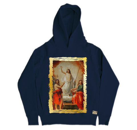 Ikons 'The Saviour with Two Saint John's' Navy Hooded Sweatshirt