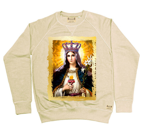 Ikons 'Our Lady' Vintage White Sweatshirt from our Ikons range of restored old masters as worn by Ian Brown of the Stone Roses