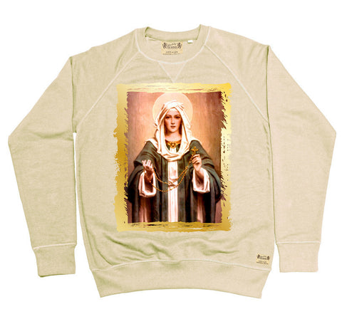 Ikons 'Rosary Madonna' Vintage White Sweatshirt from our Ikons range of restored old masters as worn by Ian Brown of the Stone Roses