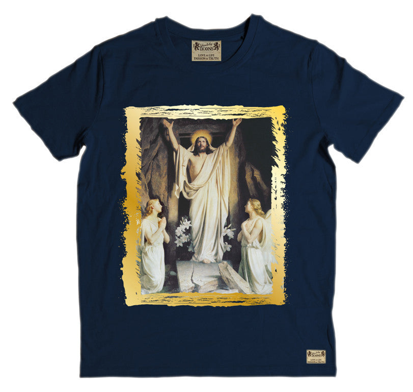 Ikons 'Resurrection' Navy T-Shirt from our Ikons range of restored old masters as worn by Ian Brown of the Stone Roses