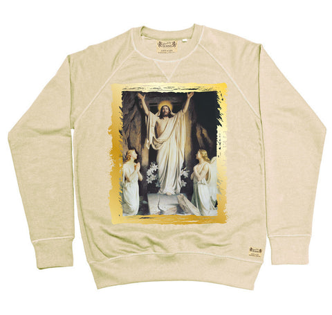 Ikons 'Resurrection' Vintage White Sweatshirt from our Ikons range of restored old masters as worn by Ian Brown of the Stone Roses