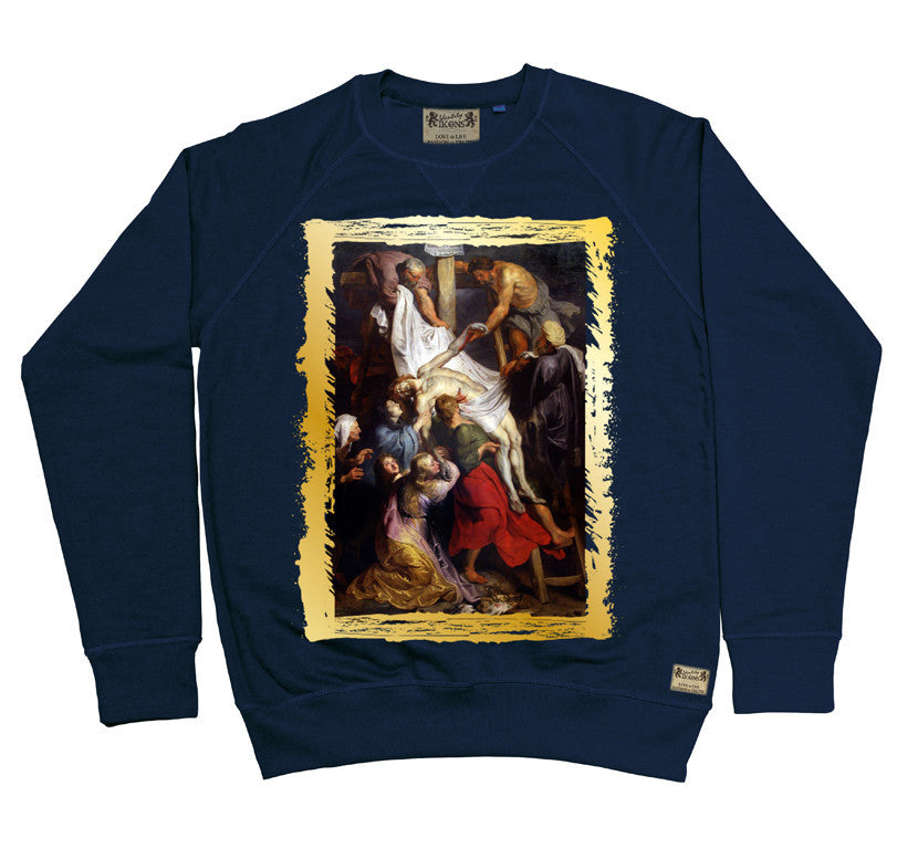 Ikons 'La Descente de Croix' Navy Sweatshirt from our Ikons range of restored old masters as worn by Ian Brown of the Stone Roses