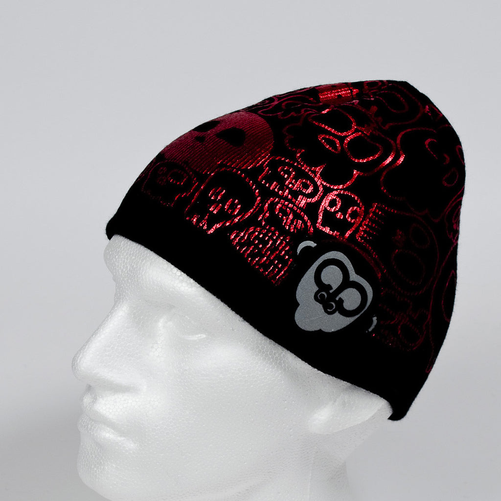 Ape Sht Red Metallic 'Skulls' Printed Skull Style Beanie Hat in Black