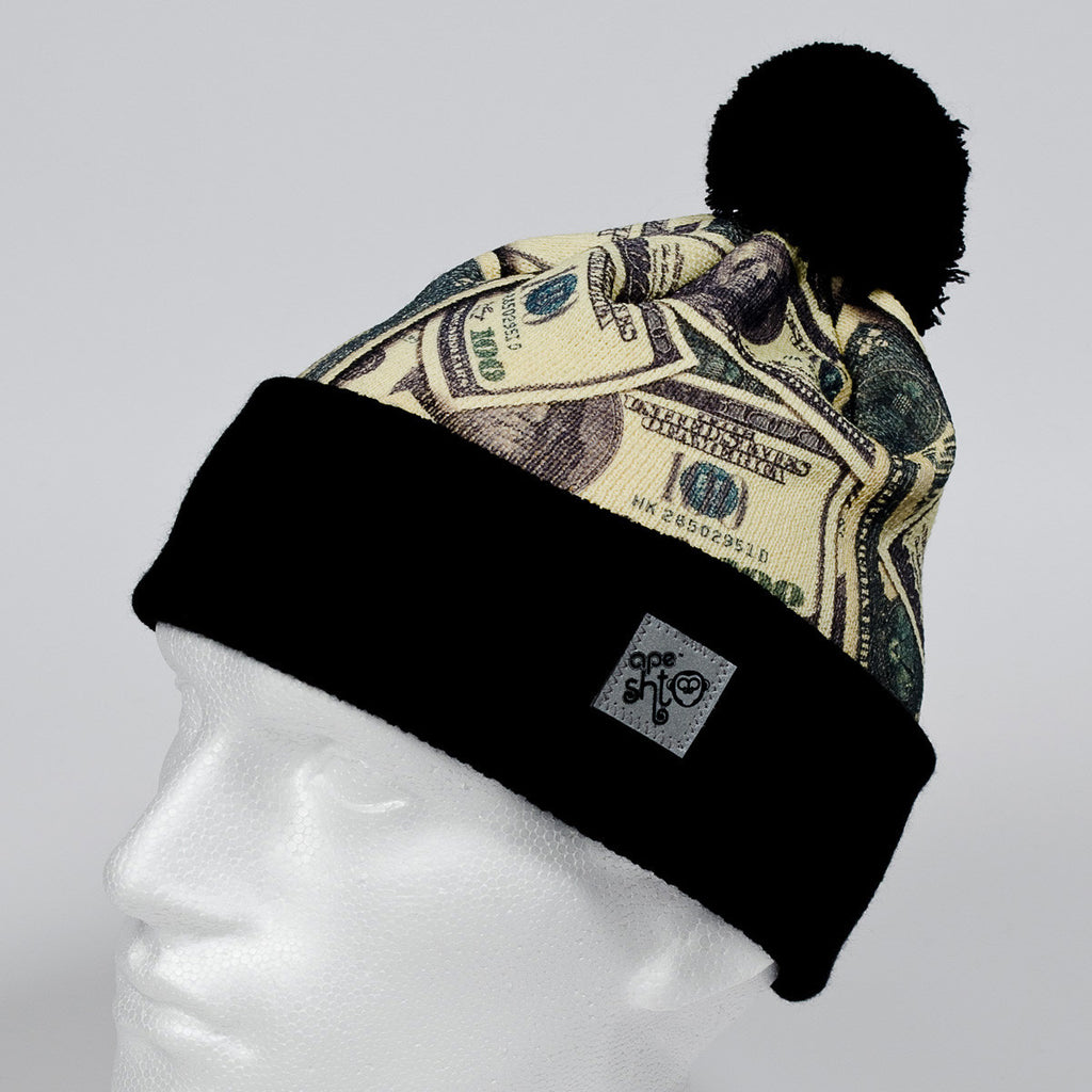Ape Sht 'Benny $100' Printed Beanie Hat in Black