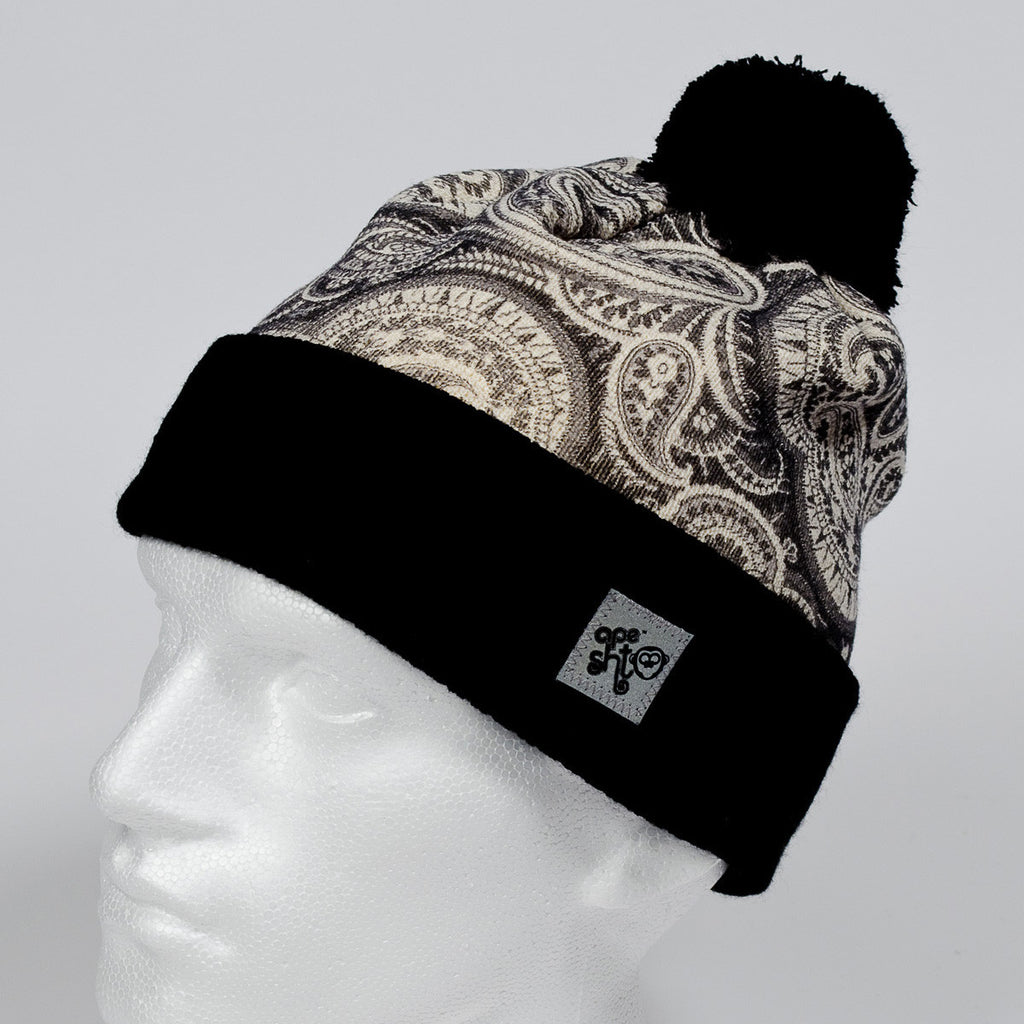 Ape Sht 'Anthracite Paisley' Printed Beanie Hat